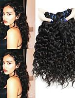 Недорогие -3 Связки Индийские волосы Монгольские волосы Волнистые Натуральные волосы Необработанные натуральные волосы Wig Accessories Подарки Косплей Костюмы 8-28 дюймовый Естественный цвет
