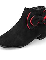 Недорогие -Девочки Обувь Синтетика Зима Ботильоны Ботинки Бант / Молнии для Дети / Для подростков Черный / Коричневый / Красный