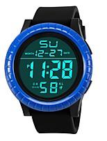 baratos -Homens Relógio Esportivo Japanês Digital 30 m Impermeável Alarme Calendário Silicone Banda Digital Fashion Preta - Preto Preto / Azul