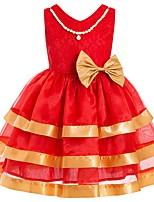 Недорогие -Дети Девочки Классический Однотонный Без рукавов Платье Красный 110
