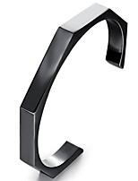 Недорогие -Муж. Классический Браслет разомкнутое кольцо - Титановая сталь Мода Браслеты Черный / Розовое золото Назначение Подарок Повседневные