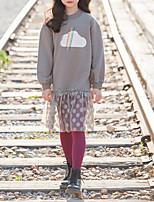 Недорогие -Дети Девочки Милая Повседневные Мультипликация Длинный рукав До колена Полиэстер Платье Черный 140