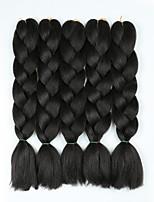 Недорогие -Волосы для кос Кудрявый Синтетические экстензии Искусственные волосы 5 предметов косы волос Темно-серый / Черный 24 дюймовый 60 см синтетический / Градиент / Горячая распродажа