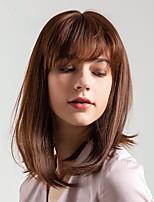 Недорогие -Человеческие волосы без парики Натуральные волосы Естественный прямой Стрижка боб / Боковая часть Новое поступление / Природные волосы Коричневый Короткие Без шапочки-основы Парик Жен.