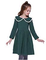 Недорогие -Дети Девочки Классический Повседневные Однотонный Длинный рукав Полиэстер Платье Зеленый 100