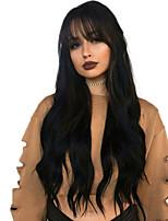 Недорогие -человеческие волосы Remy Лента спереди Парик Бразильские волосы Прямой Естественный прямой Черный Парик Ассиметричная стрижка 130% 150% 180% Плотность волос Мягкость Женский Горячая распродажа Cool