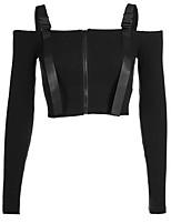 Недорогие -женская хлопчатобумажная тощая футболка - сплошной цветной шею