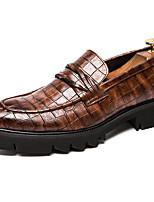 Недорогие -Муж. Официальная обувь Синтетика Весна & осень Деловые / Английский Мокасины и Свитер Нескользкий Черный / Коричневый