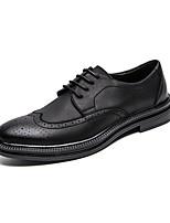 Недорогие -Муж. Кожаные ботинки Кожа Зима Деловые / На каждый день Туфли на шнуровке Нескользкий Черный