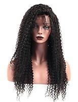Недорогие -Натуральные волосы Лента спереди Парик Бразильские волосы Kinky Curly Парик Глубокое разделение 130% Плотность волос Подарок Горячая распродажа Удобный Нейтральный Жен. Длинные