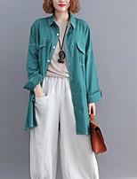 Недорогие -женская рубашка - сплошная рубашка с воротником