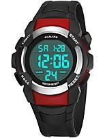 Недорогие -Муж. Спортивные часы Японский Цифровой 30 m Защита от влаги Календарь Хронометр силиконовый Группа Цифровой Мода Черный - Черный / Красный Черный / Серебристый