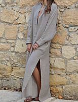 abordables -Femme Chic de Rue Maxi Ample Gaine Robe Couleur Pleine V Profond Printemps Automne Beige Gris Vert Véronèse M L XL Coton Manches Longues
