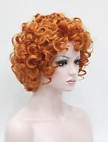 abordables -Perruque Synthétique Femme Bouclé Rouge Coupe Lutin Cheveux Synthétiques 8 pouce Synthétique Rouge Perruque Court Sans bonnet Rouge