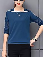 abordables -Tee-shirt Femme, Bloc de Couleur Maille Basique / Chic de Rue