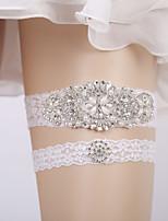 baratos -Renda Casamento Wedding Garter Com Botão Malha Adorno / Elástico / Cristal / Strass Ligas Casamento