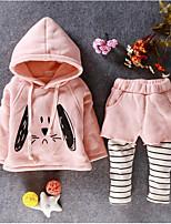 billiga -Bebis Flickor Grundläggande Dagligen Enfärgad Långärmad Normal Normal Polyester Klädesset Rodnande Rosa 100 / Småbarn