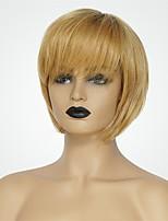 Недорогие -Человеческие волосы без парики Натуральные волосы Естественный прямой Стрижка боб Модный дизайн / Новый дизайн / Удобный Блондинка Средние Без шапочки-основы Парик Жен.