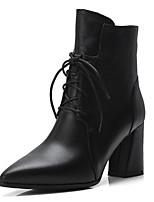 Недорогие -Жен. Наппа Leather Осень Ботинки На толстом каблуке Закрытый мыс Ботинки Черный / Коричневый