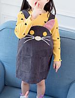 Недорогие -Дети (1-4 лет) Девочки Классический Мультипликация Длинный рукав Платье Розовый 100
