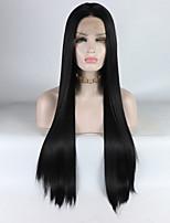 Недорогие -Синтетические кружевные передние парики Жен. Прямой Черный Средняя часть 180% Человека Плотность волос Искусственные волосы 16-26 дюймовый Регулируется / Жаропрочная / Эластичный Черный Парик Длинные