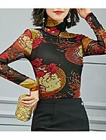 Недорогие -женская футболка - цветочная водолазка