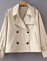 Недорогие -Жен. Повседневные Классический Обычная Кожаные куртки, Однотонный Приподнятый круглый Длинный рукав Полиуретановая Бежевый S / M / L