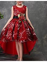 Недорогие -Дети Девочки Цветочный принт Рукав до локтя / Без рукавов Платье