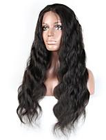 Недорогие -Не подвергавшиеся окрашиванию человеческие волосы Remy Лента спереди Парик Бразильские волосы Естественные кудри Парик Стрижка каскад Средняя часть Боковая часть 130% Плотность волос