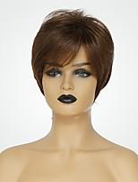 Недорогие -Человеческие волосы без парики Натуральные волосы Естественный прямой Стрижка под мальчика Природные волосы Коричневый Короткие Машинное плетение Парик Жен.