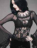 abordables -Steampunk Costume Femme Chemisier / Chemise Noir Vintage Cosplay Polyester Manches Longues Illusion