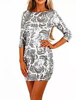 abordables -Femme Basique Mini Moulante / Gaine Robe - Paillettes, Couleur Pleine Printemps Automne Argent M L XL Manches Longues