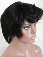 Недорогие -Не подвергавшиеся окрашиванию человеческие волосы Remy Полностью ленточные Парик Бразильские волосы Мелкие кудри Шелковисто-прямые Парик Стрижка каскад Короткий Боб Средняя часть 130% Плотность волос