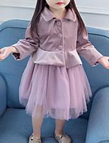 Недорогие -Дети (1-4 лет) Девочки Классический Однотонный Длинный рукав Платье Лиловый 100