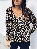 Недорогие -женская хлопчатобумажная футболка - леопард в шею