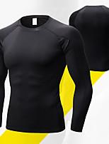 abordables -Homme Col Ras du Cou Tee-shirt de Course Des sports Couleur unie Couches de base Pour Yoga, Course / Running, Fitness Manches Longues Tenues de Sport Respirable, Séchage rapide, Compression Haute