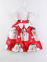 Недорогие -Дети Девочки Милая Рождество Мультипликация Без рукавов Платье Красный 100