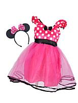 Недорогие -малыш Девочки Классический Однотонный Длинный рукав Хлопок / Полиэстер Платье Красный 110
