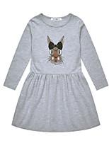 Недорогие -Дети Девочки Классический Повседневные Однотонный Длинный рукав Хлопок / Полиэстер Платье Серый 130