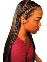 Недорогие -человеческие волосы Remy Необработанные натуральные волосы 6x13 Тип замка Фронтальная часть Лента спереди Парик Бразильские волосы Прямой Шелковисто-прямые Парик Глубокое разделение Боковая часть