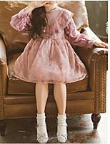 Недорогие -Дети Девочки Классический Повседневные Однотонный Длинный рукав Хлопок / Полиэстер Платье Розовый 110