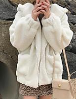 Недорогие -Жен. На выход Обычная Куртка, Однотонный Капюшон Длинный рукав Полиэстер Розовый / Бежевый / Хаки Один размер
