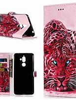 Недорогие -Кейс для Назначение Nokia Nokia 7 Plus / Nokia 6 2018 Кошелек / Бумажник для карт / со стендом Чехол Животное Твердый Кожа PU для Nokia 7 Plus / Nokia 6 2018 / Nokia 1