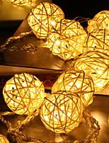 abordables -5m Guirlandes Lumineuses 40 LED Blanc Chaud Décorative Piles AA alimentées 1 set