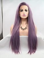 Недорогие -Синтетические кружевные передние парики Жен. Естественные прямые Фиолетовый Стрижка каскад 130% Человека Плотность волос Искусственные волосы 26 дюймовый Женский Фиолетовый Парик Средняя длина / Да