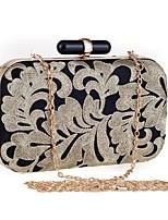 Недорогие -Жен. Мешки Полиэстер Вечерняя сумочка Вышивка Цветочные / ботанический Черный
