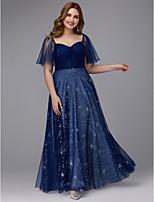 baratos -Linha A Decote Princesa Longo Tule Brilho & Glitter Vestido com Cruzado de TS Couture® / Baile de Formatura