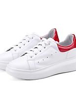 baratos -Mulheres Sapatos Confortáveis Pele Napa Primavera & Outono Tênis Sem Salto Ponta Redonda Branco / Verde