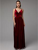baratos -Linha A Decote V Longo Veludo Evento Formal Vestido com Fenda Frontal / Pregas de TS Couture®