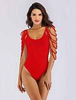 abordables -Femme Basique Encolure plongeante Blanc Noir Rouge Slip Brésilien Une-pièce Maillots de Bain - Couleur Pleine L XL XXL